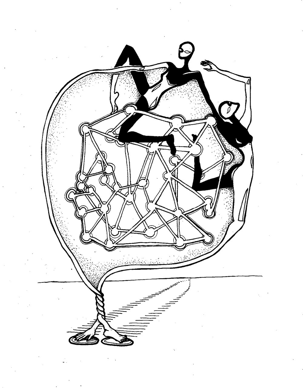 Intertwined (2015), black & white  silkscreen