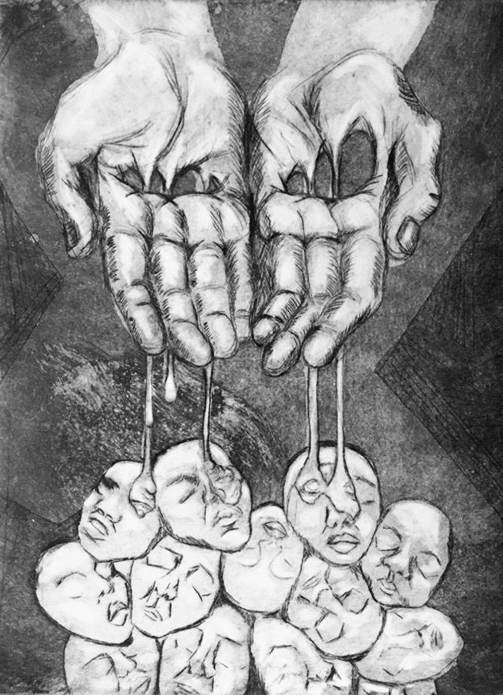 Dripping Hands (2014),  etching &   intaglio