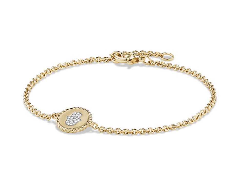 David Yurman is a classic brand and their recent incorporation of the Hamsa symbol is a modern twist. The Hamsa hand stands as a protective symbol for all faiths; historically known to bring its owner happiness, luck, health and good fortune.