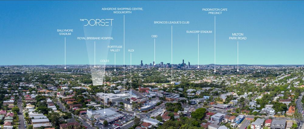 Aerial Photo of The Dorset 4km from Brisbane CBD