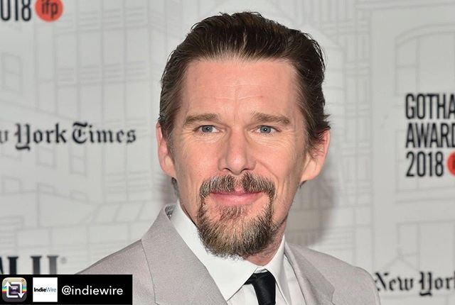 """We are the great generators of empathy and compassion and we have to do our work,"" Hawke said about filmmakers, actors, and more.  Ethan Hawke kicked off awards season with a triumphant victory at the 2018 IFP Gotham Awards. The actor took home Best Actor prize for his acclaimed performance in Paul Schrader's ""First Reformed."" Hawke beat out Adam Driver (""BlacKkKlansman""), Richard E. Grant (""Can You Ever Forgive Me?""), Ben Foster (""Leave No Trace""), and Lakeith Stanfield (""Sorry to Bother You"") for the award, and he used his acceptance speech to advocate for the power of art. https://www.indiewire.com/2018/11/ethan-hawke-gotham-best-actor-speech-value-art-dark-times-1202023461/ via Repost from @indiewire using @RepostRegramApp • • #gothamawards #art #bestactor #ethanhawke #community #empathy #filmmakers #actors"
