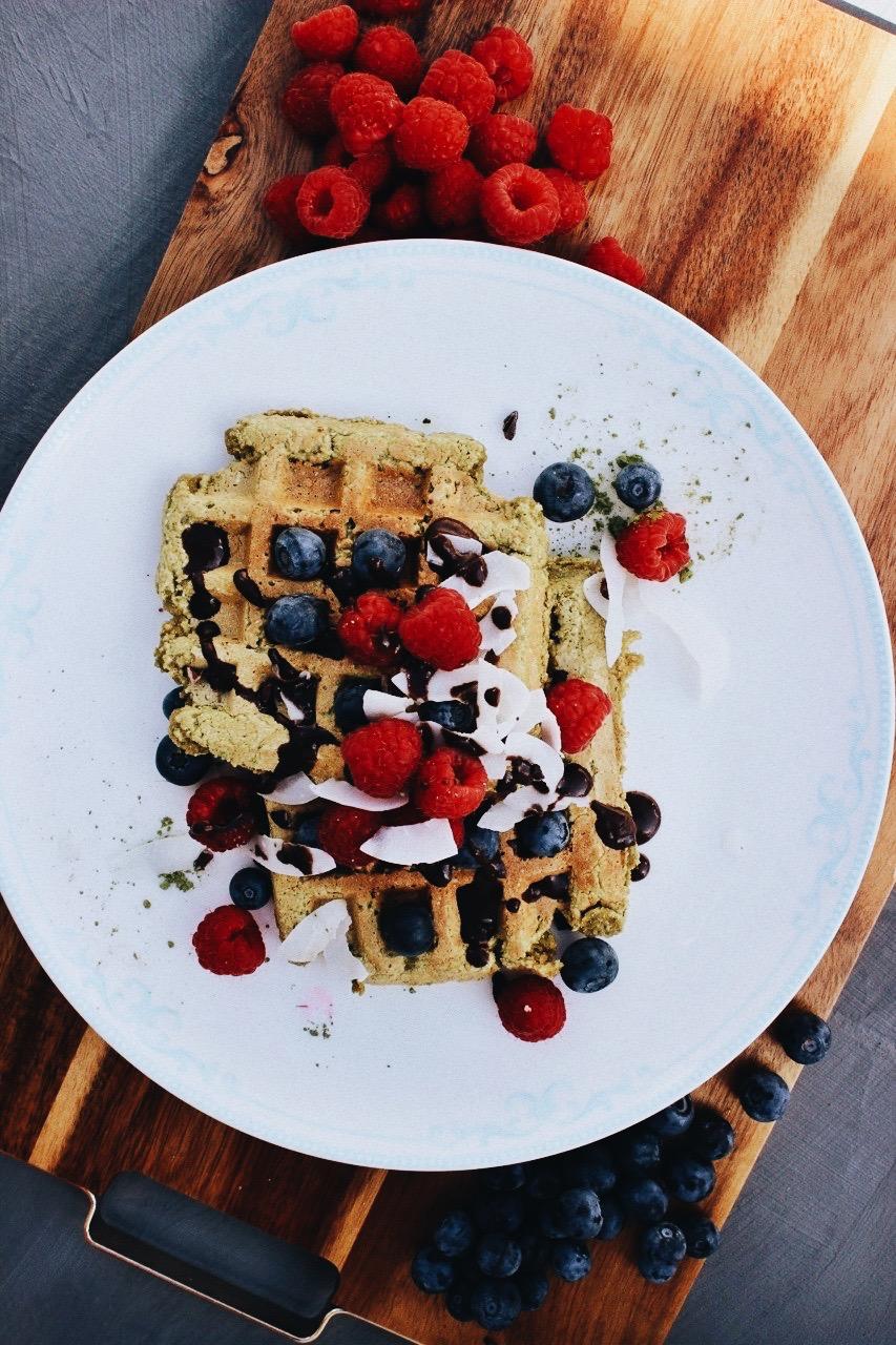matcha-coconut-waffles