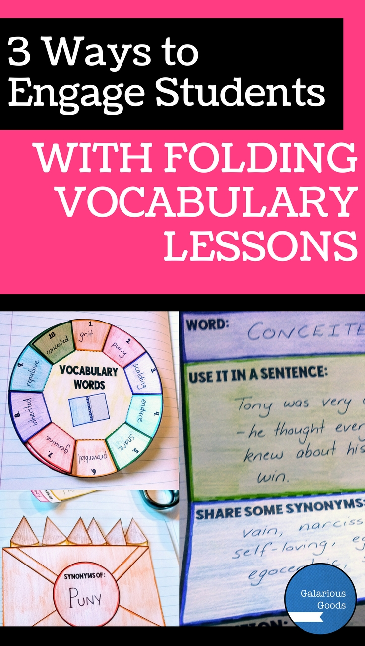 3 Ways to engage students with folding vocabulary lessons. Interactive resource blog post with free downloadable resource. Includes three examples of folding vocabulary resources - a vocabulary wheel, vocabulary pocket and vocabulary expandable resource