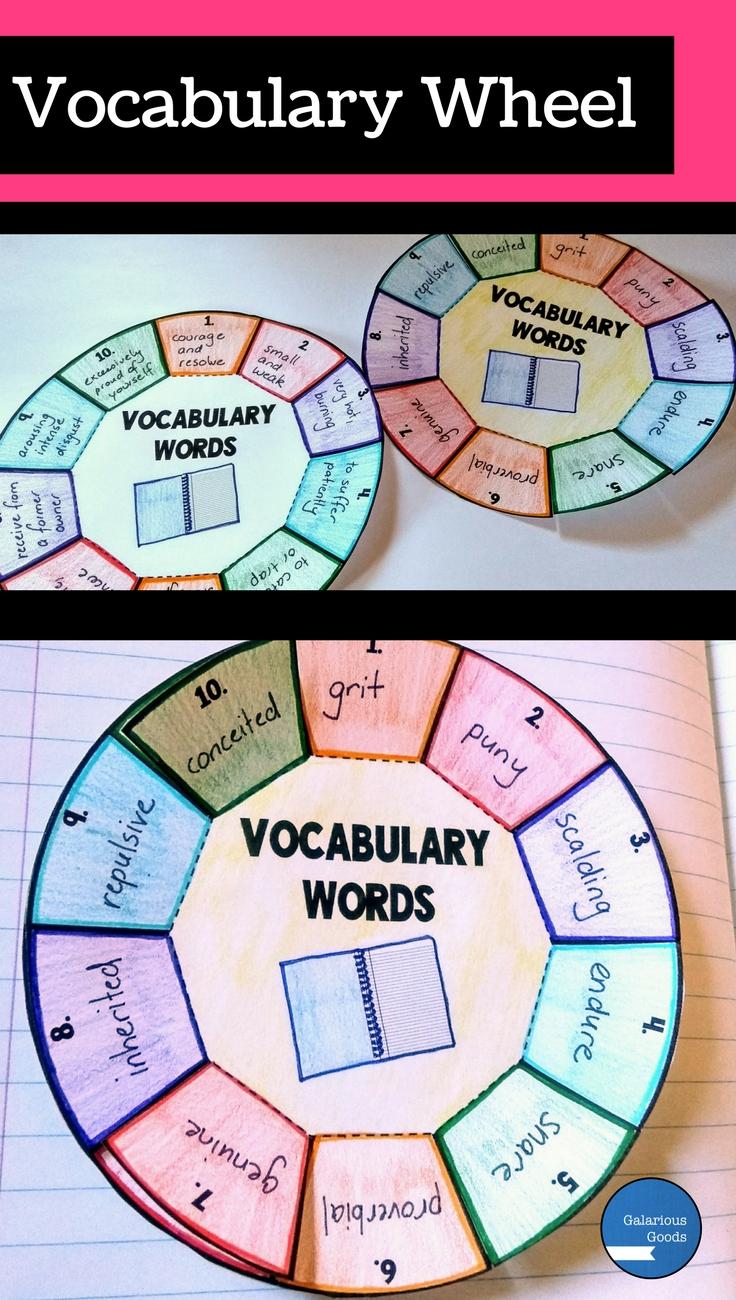 Vocabulary Wheel - 3 Ways to Use Folding Resources to Teach Vocabulary