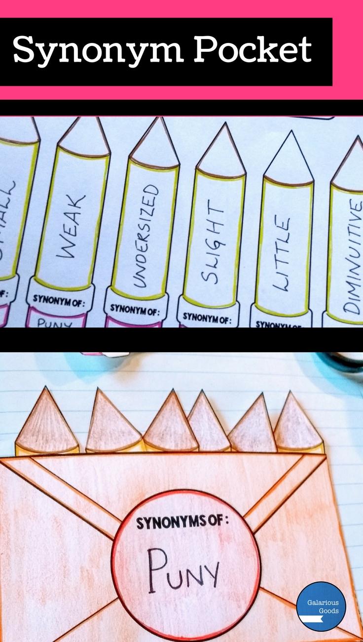 Synonym Pocket- 3 Ways to Use Folding Resources to Teach Vocabulary