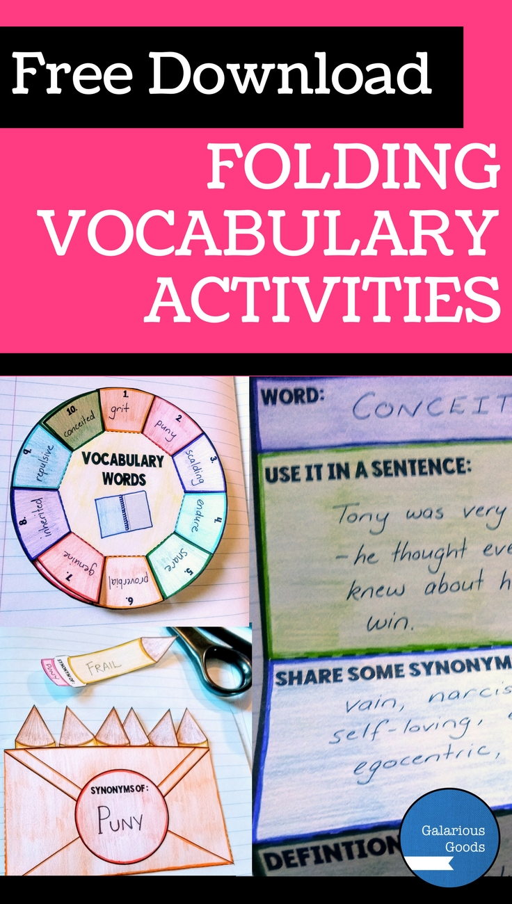 Free Download -  3 Ways to engage students with folding vocabulary lessons. Interactive resource blog post with free downloadable resource. Free folding vocabulary download for teachers to use in their classrooms