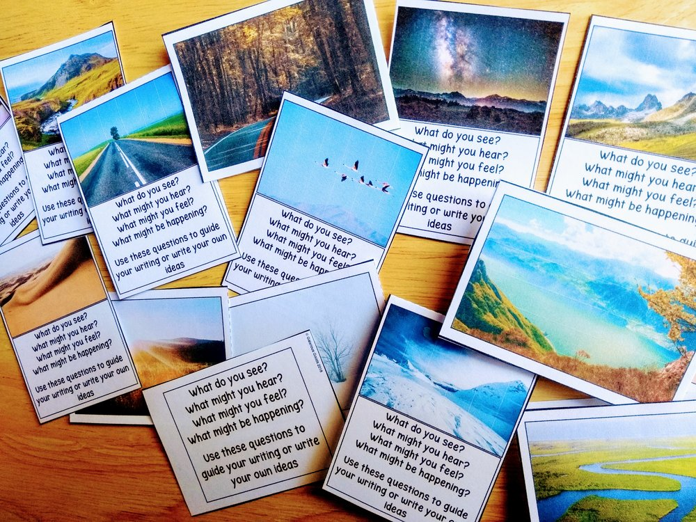 Freewriting picture prompt cards from Galarious Goods. These cards can be used to assist students in Freewriting