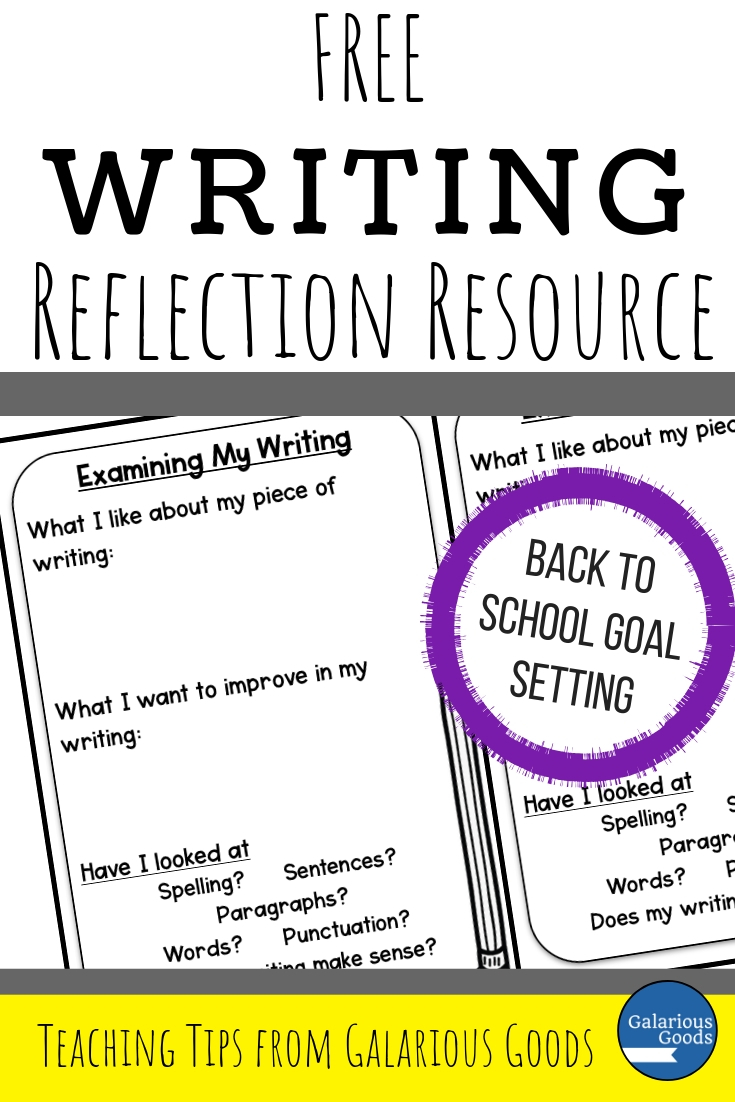 Free Writing Reflection Resource - Don't Make Writing Goals with Blank Pages: Creating Writing to Make Writing Goals. A Back to School Blog Post and Resource from Galarious Goods