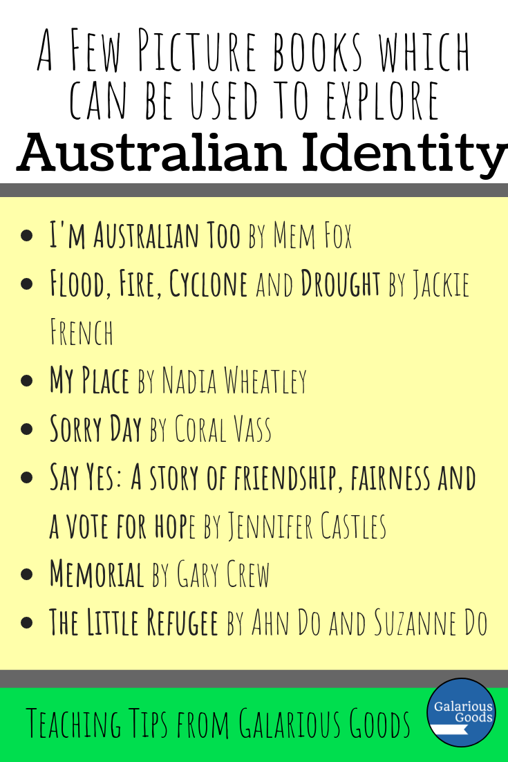 A few Australian picture books which can be used in the classroom to explore Australian Identity with your students. These picture books can help students examine how they see themselves, how they see others and what stereotypes of Australians are. Perfect for the classroom