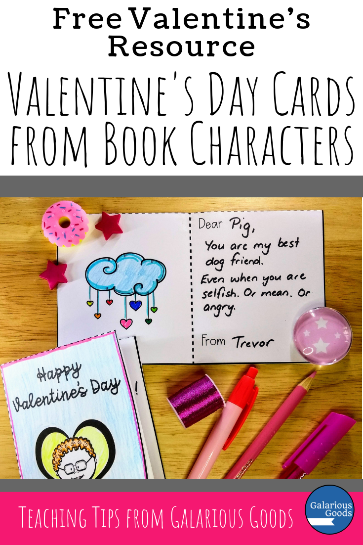 Free Valentine's Day resource for the reading classroom. Students create valentines from one book character to another. A Galarious Goods Blog Post
