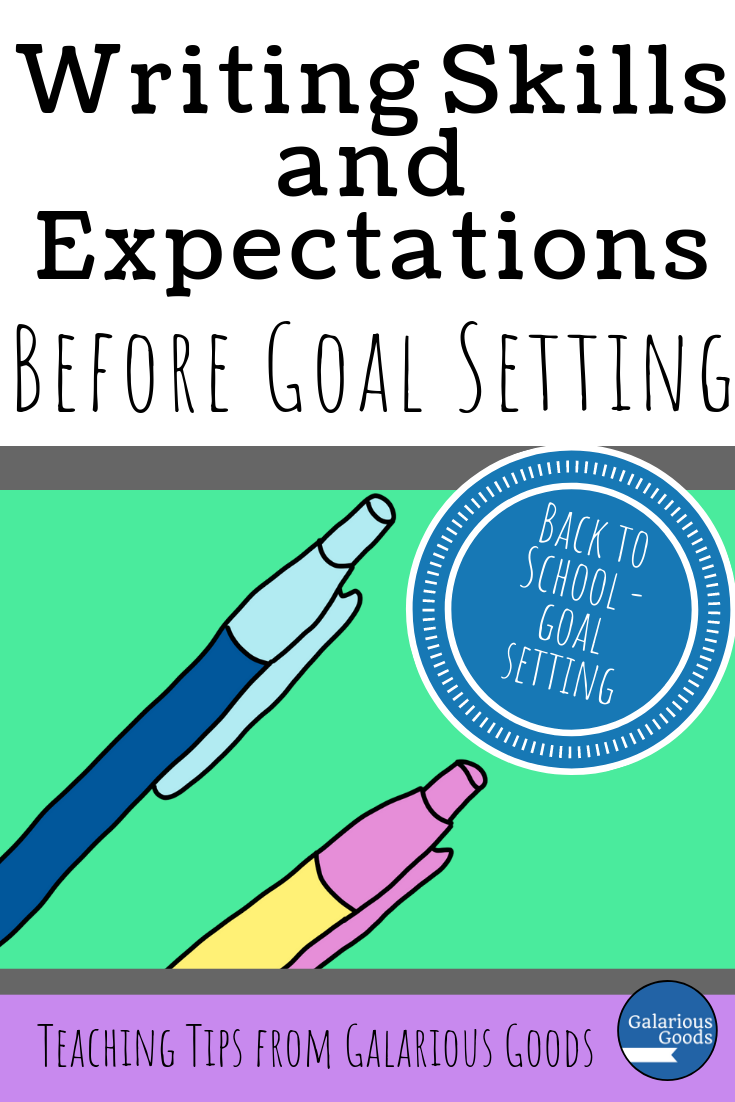 Writing skills and expectations before goal setting. Don't jump straight into making writing goals with your students. Take a moment to make sure they understand what is expected of them and how they can achieve that. A Galarious Goods blog post