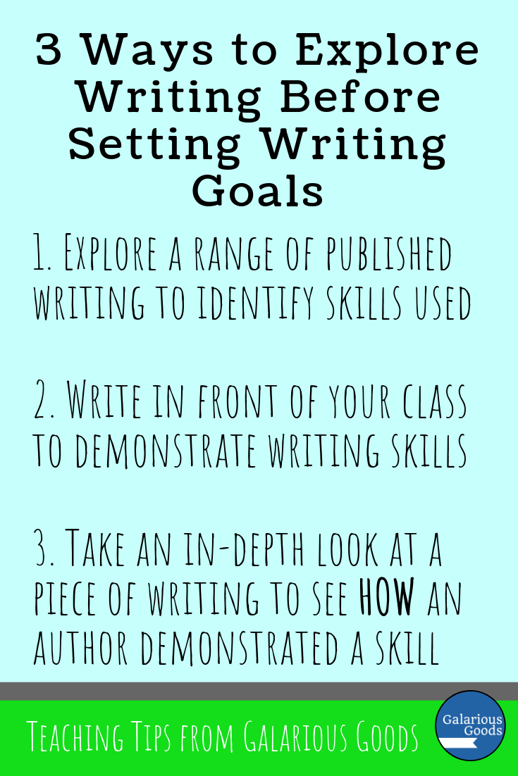 Writing skills and expectations before goal setting. Don't jump straight into making writing goals with your students. Take a moment to make sure they understand what is expected of them and how they can achieve that. Start by exploring writing before your set those goals. A Galarious Goods blog post
