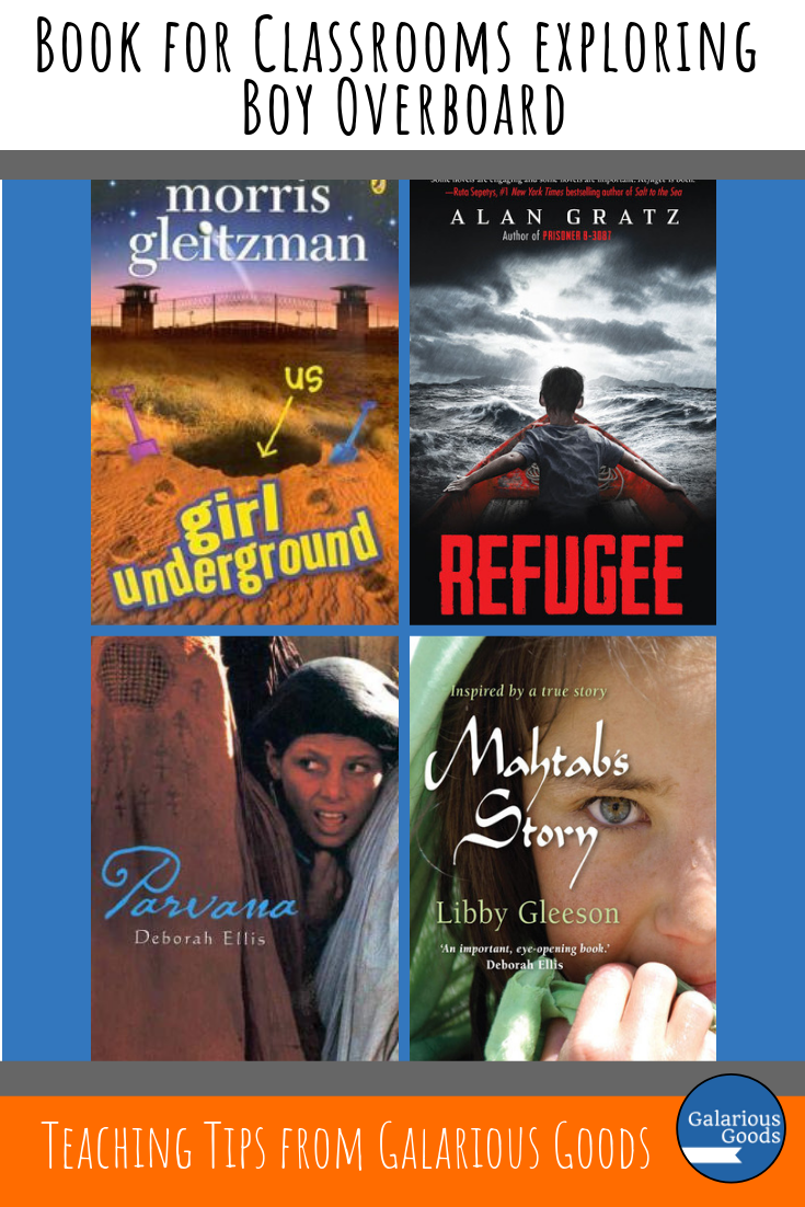 Books for classrooms exploring Boy Overboard by Morris Gleitzman. A collection of books which are perfect for the classroom for teachers to explore as they teach Boy Overboard. A Galarious Goods blog post.