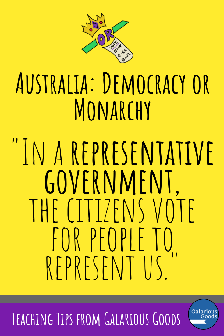 Is Australia a Democracy or a Monarchy? And how can we teach this in the classroom? A civics and citizenship, government in Australia blog post exploring ways to teach democracy and monarchy and Australia's system in your classroom. A Galarious Goods post