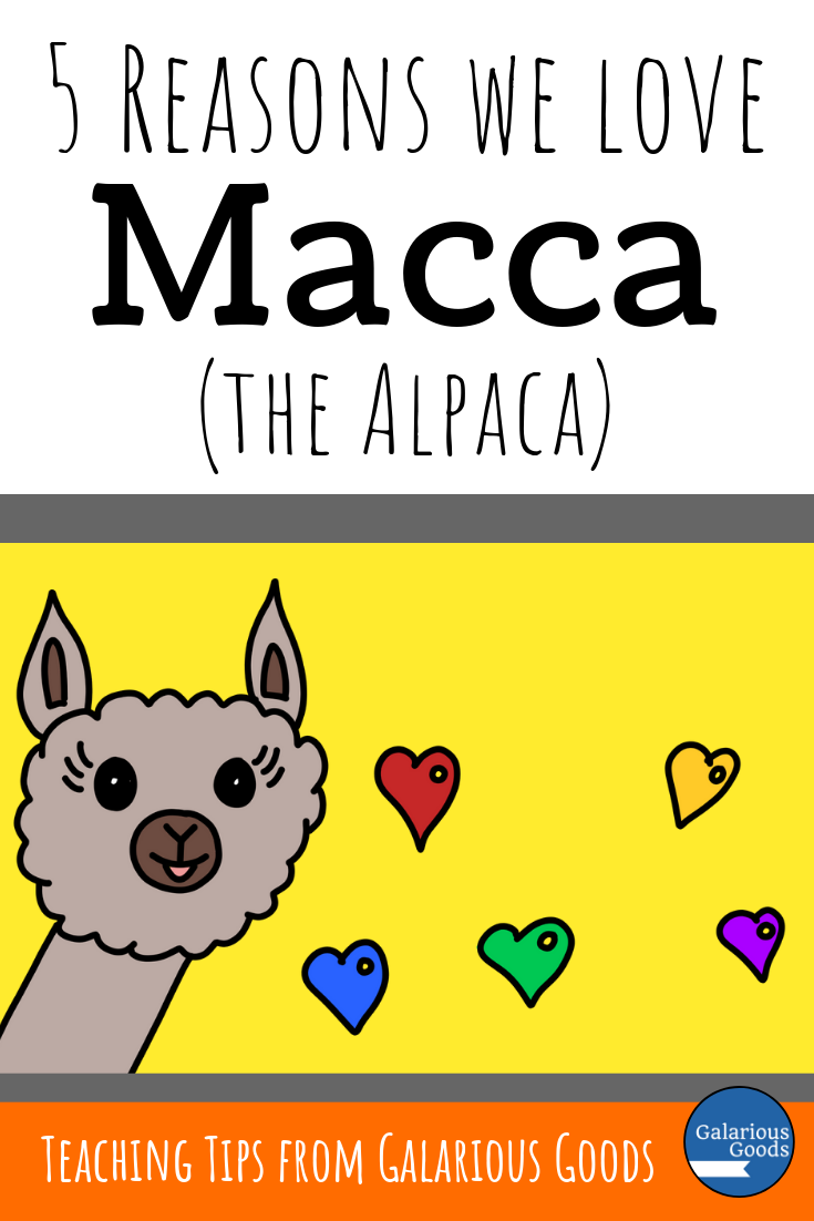 5 Reasons We Love Macca (the Alpaca) - a little look at the Macca the Alpaca series of picture books by Matt Cosgrove and a range of ways they can be used to supplement teaching in the classroom. A Galarious Goods blog post