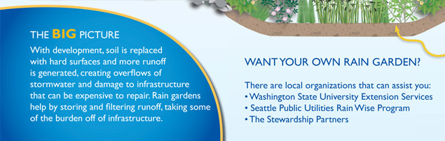 Interpretive Sign about Rain Gardens, showing a Call to Action, by The Watershed Company