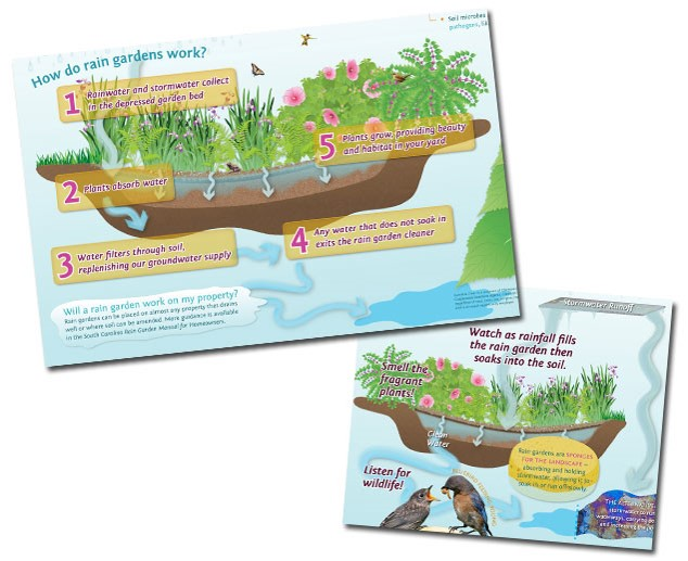 A rain garden graphic was adapted to illustrate different messages on two interpretive signs for Clemson University's Carolina Clear education campaign.