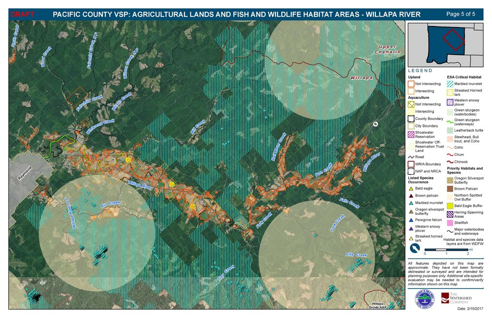Pacific County Voluntary Stewardship Plan GIS map showing agricultural lands and fish and wildlife habitats