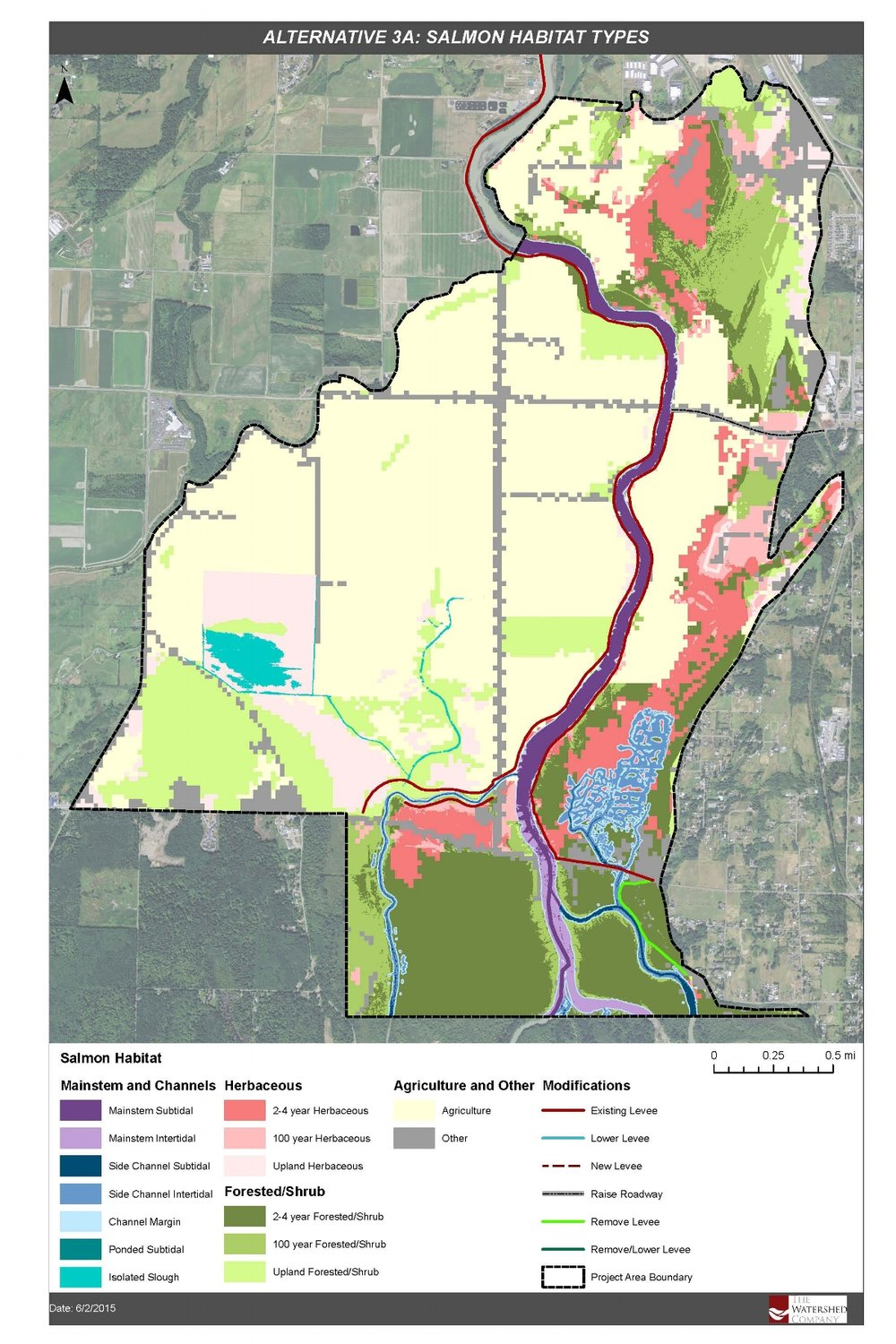 Salmon Habitat Types GIS for Lower Nooksack River alternatives analysis in Whatcom County by The Watershed Company.