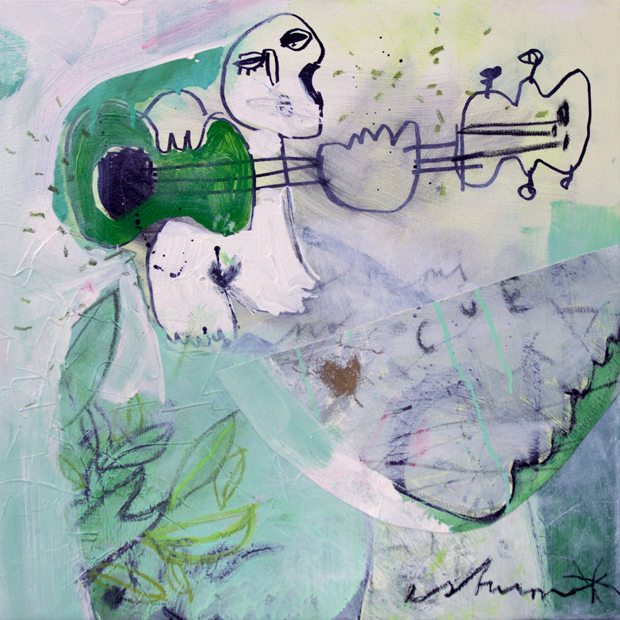 green guitar player (2016)<br>Acryl, Marker, Ölkreiden auf Leinwand<br>50 x 50 cm
