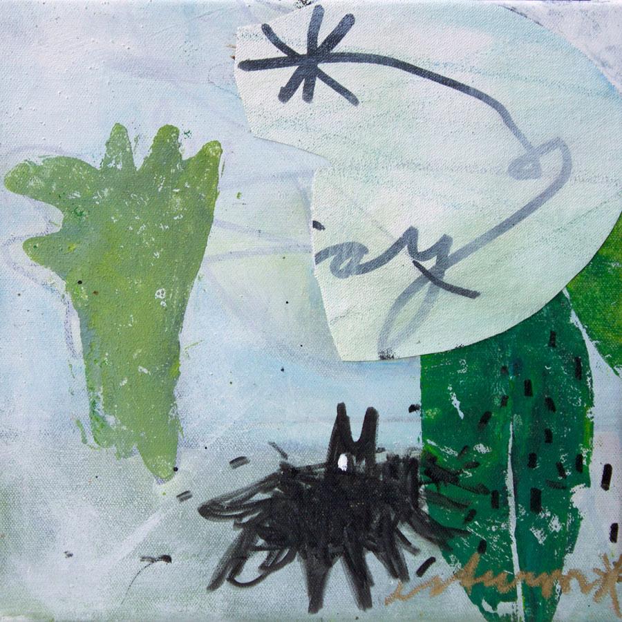 let me fly again (2016)<br>Collage, Acryl, Marker, Ölkreiden auf Leinwand<br>30 x 30 cm
