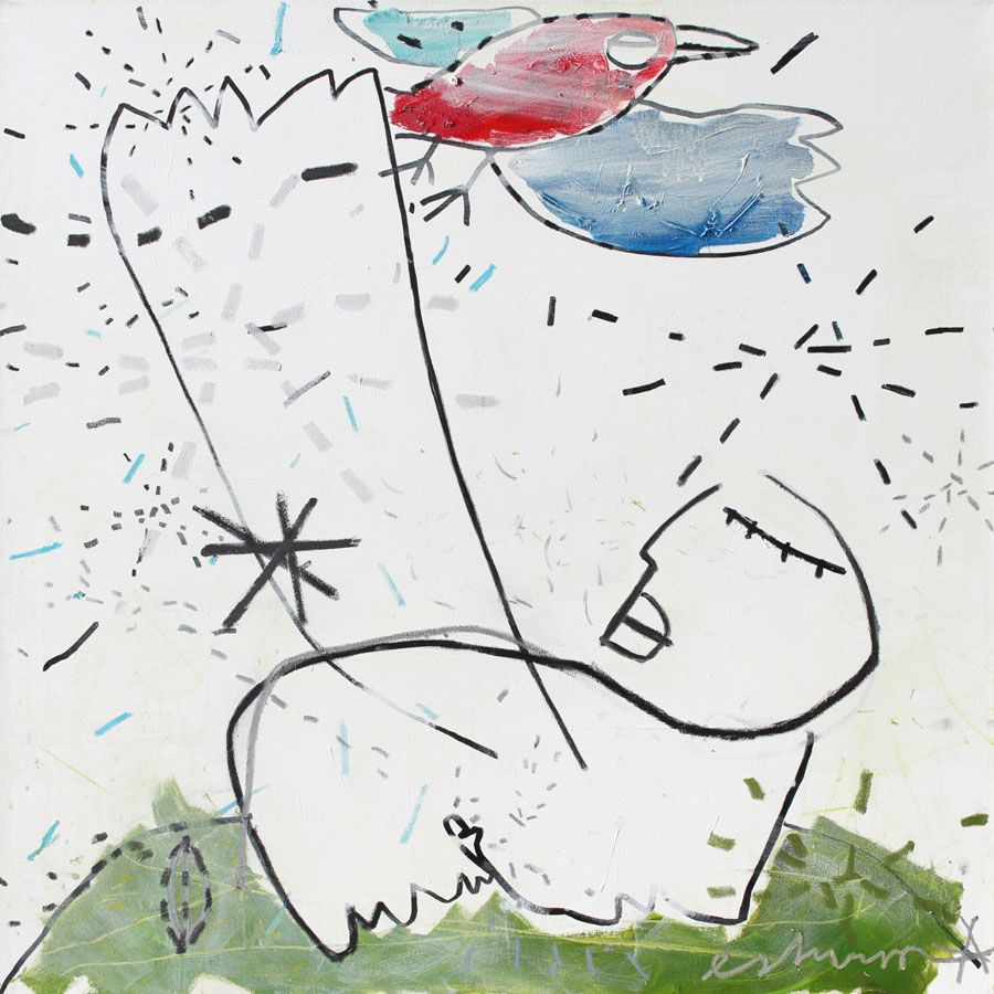 bird and me, 2017<br>Acryl, Marker, Ölkreiden auf Leinwand<br>100 x 100 cm