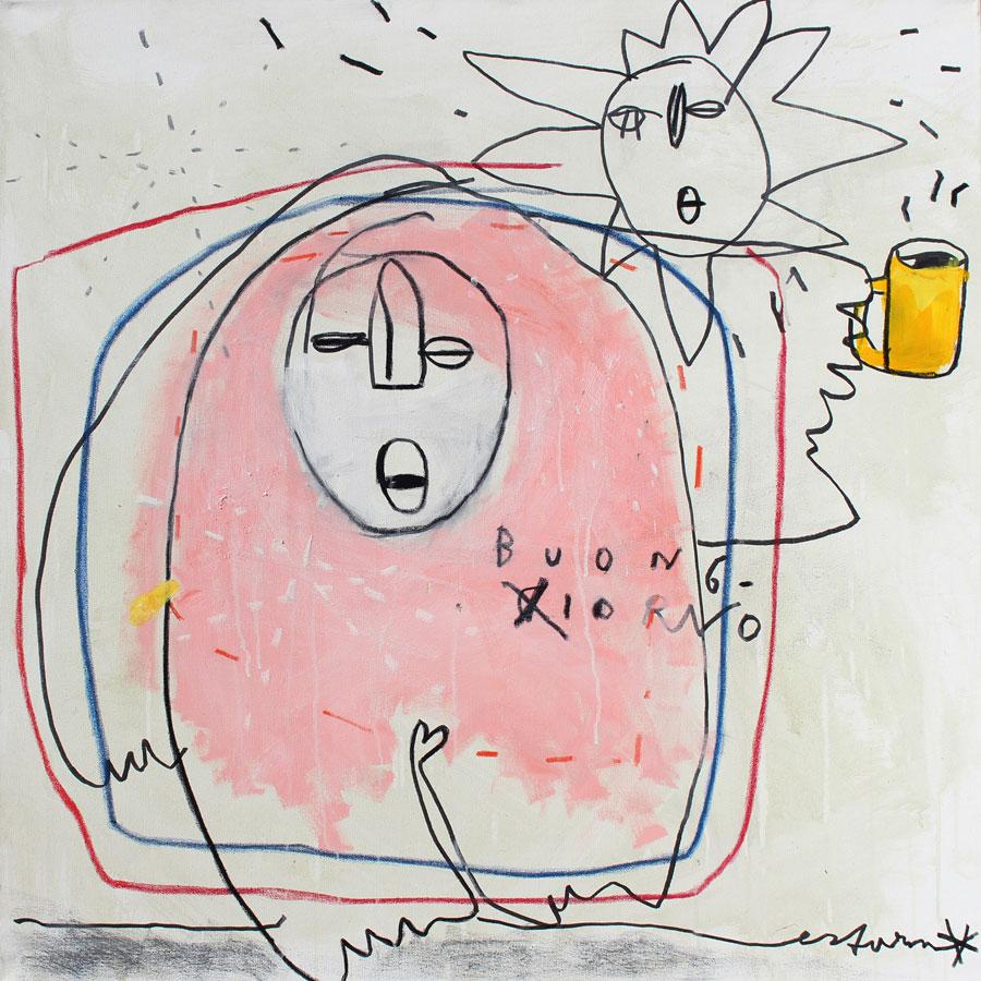 buongiorno con caffè, 2017<br>Acryl, Marker, Ölkreiden auf Leinwand<br>100 x 100 cm