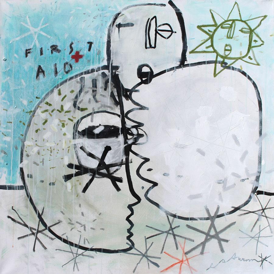 first aid, 2017<br>Acryl, Marker, Ölkreiden auf Leinwand<br>100 x 100 cm