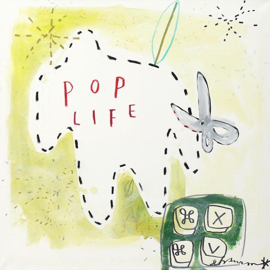 pop life, 2017<br>Acryl, Marker, Ölkreiden auf Leinwand<br>100 x 100 cm