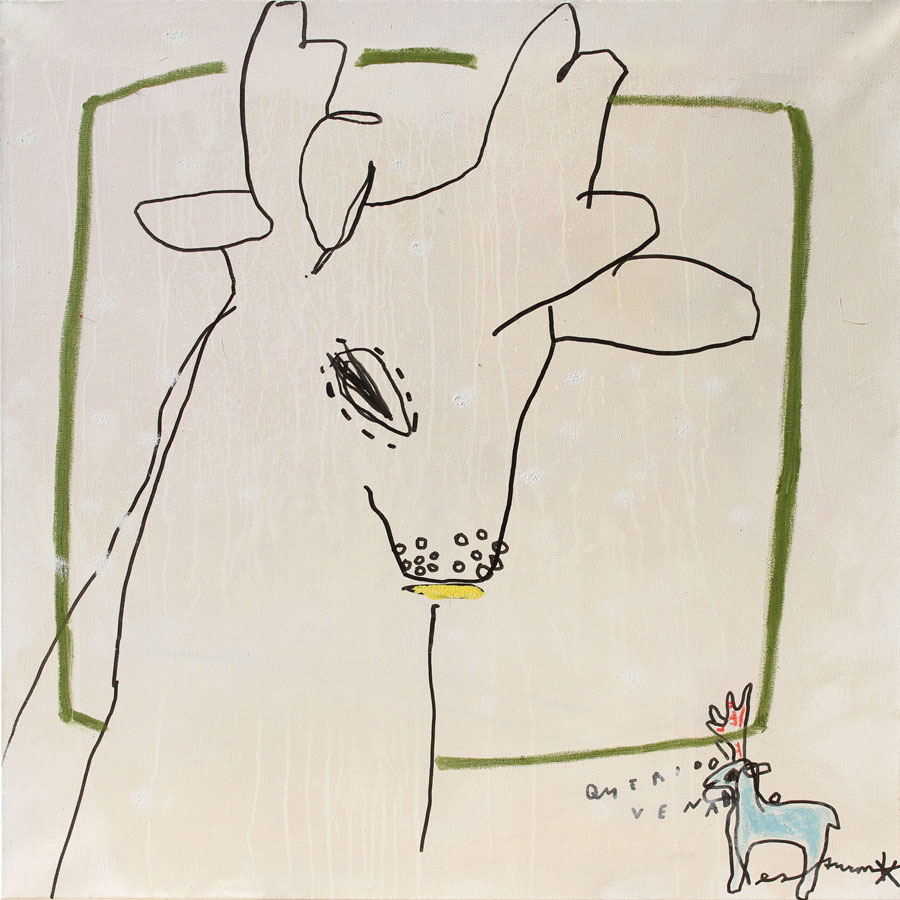 querido venado, 2017<br>Acryl, Marker, Ölkreiden auf Leinwand<br>100 x 100 cm
