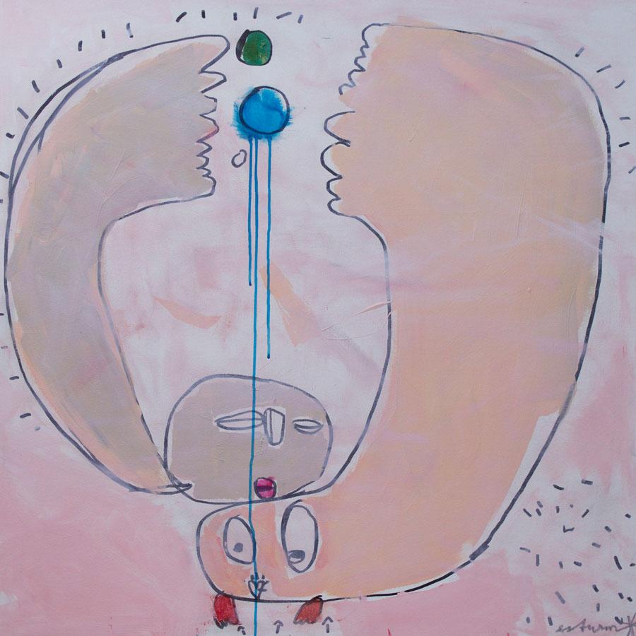 balance, 2016<br>Acryl, Marker, Ölkreiden auf Leinwand<br>100 x 100 cm