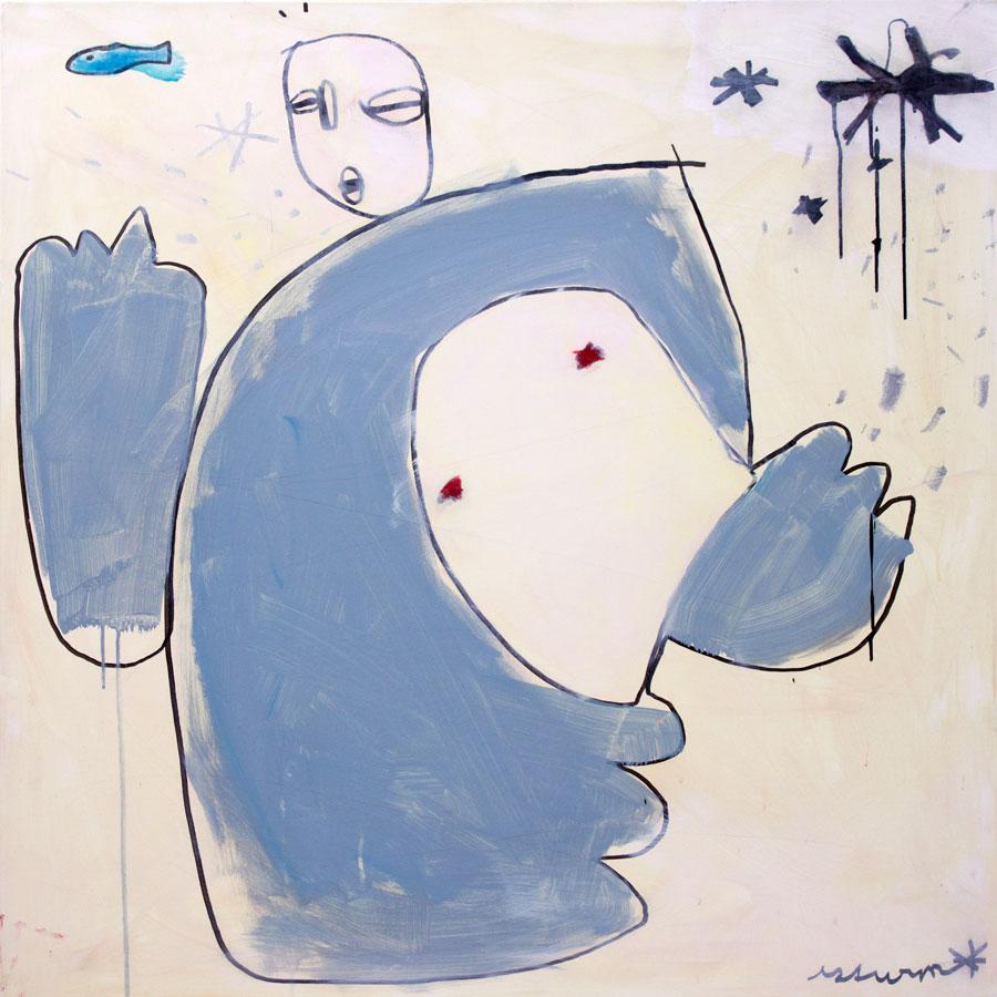stardancer with fish, 2016<br>Acryl, Marker, Ölkreiden auf Leinwand<br>100 x 100 cm