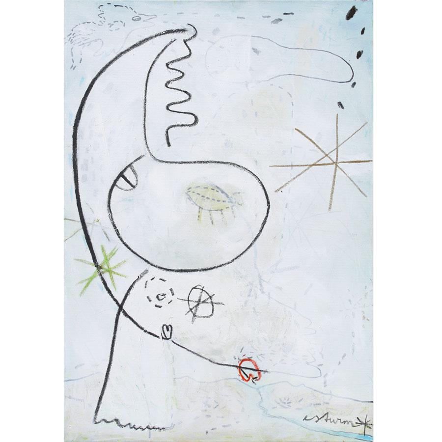kissing the sky (2016)<br>Acryl, Marker, Ölkreiden auf Leinwand<br>80 x 100 cm