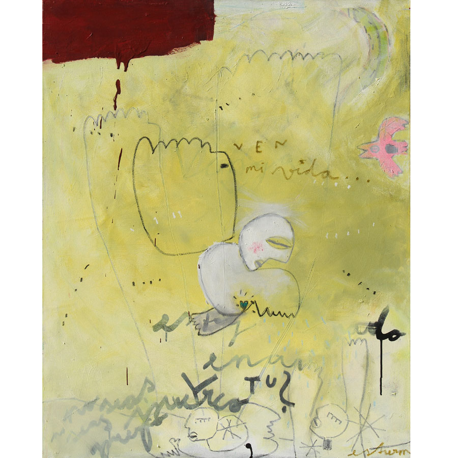 ven mi vida, no seas puerco (2016)<br>Acryl, Marker, Ökreiden auf Leinwand<br>80 x 100 cm