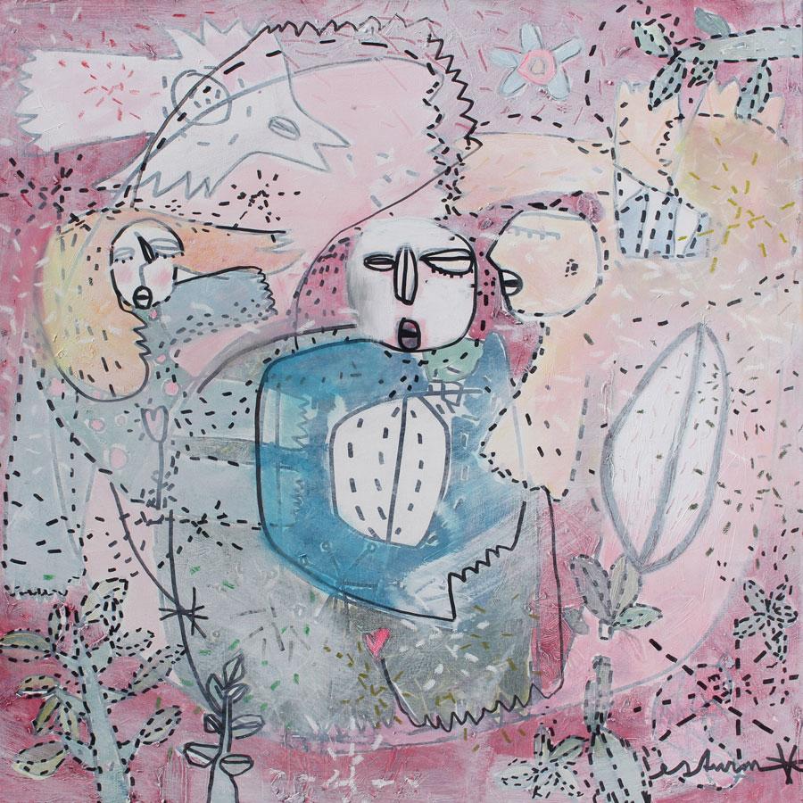 togetherness (2016)<br>Acryl, Marker, Ölkreiden auf Leinwand<br>100 x 100 cm