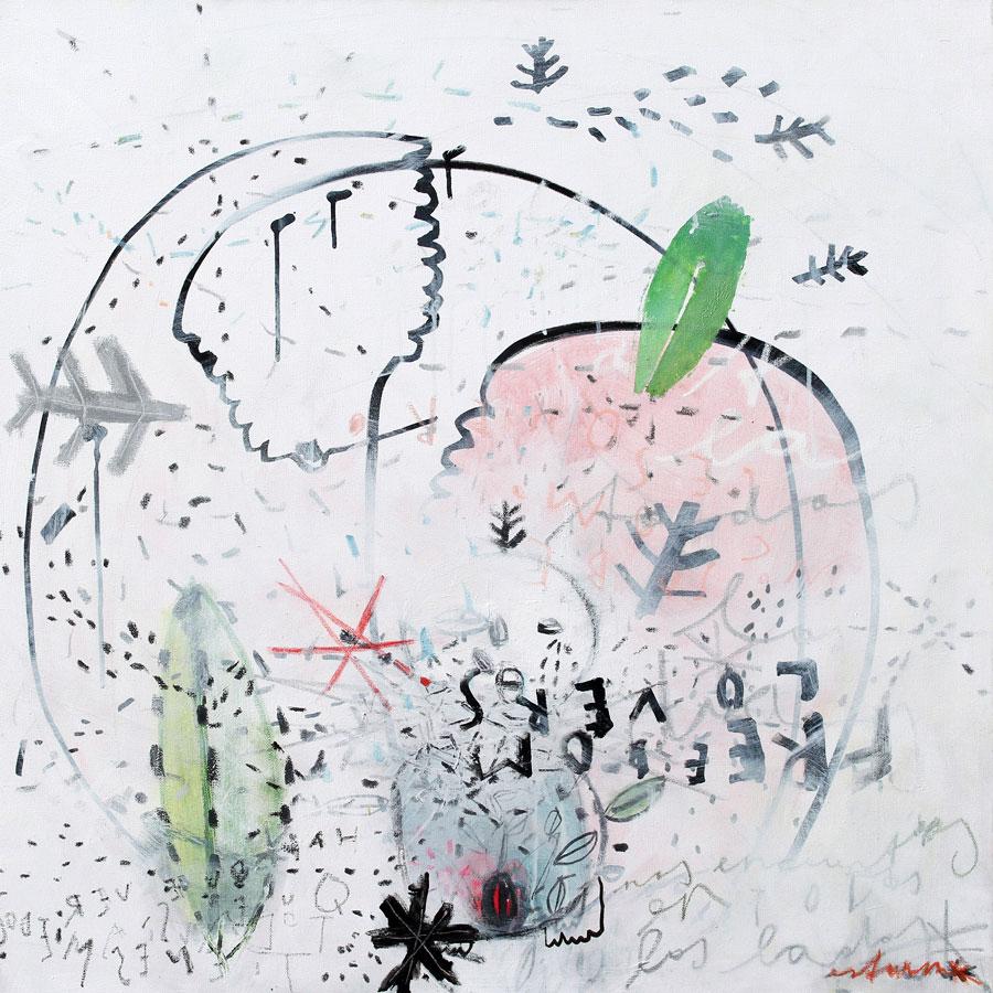 freedom lovers: en todos los lados (2016)<br>Acryl, Marker, Ölkreiden auf Leinwand<br>80 x 80 cm