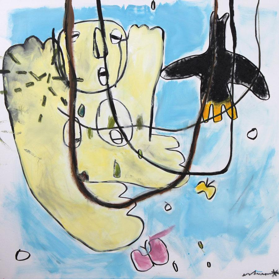 urwald-frau-vogel-luft (2016)<br>Acryl, Marker, Ölkreiden auf Leinwand<br>100 x 100 cm