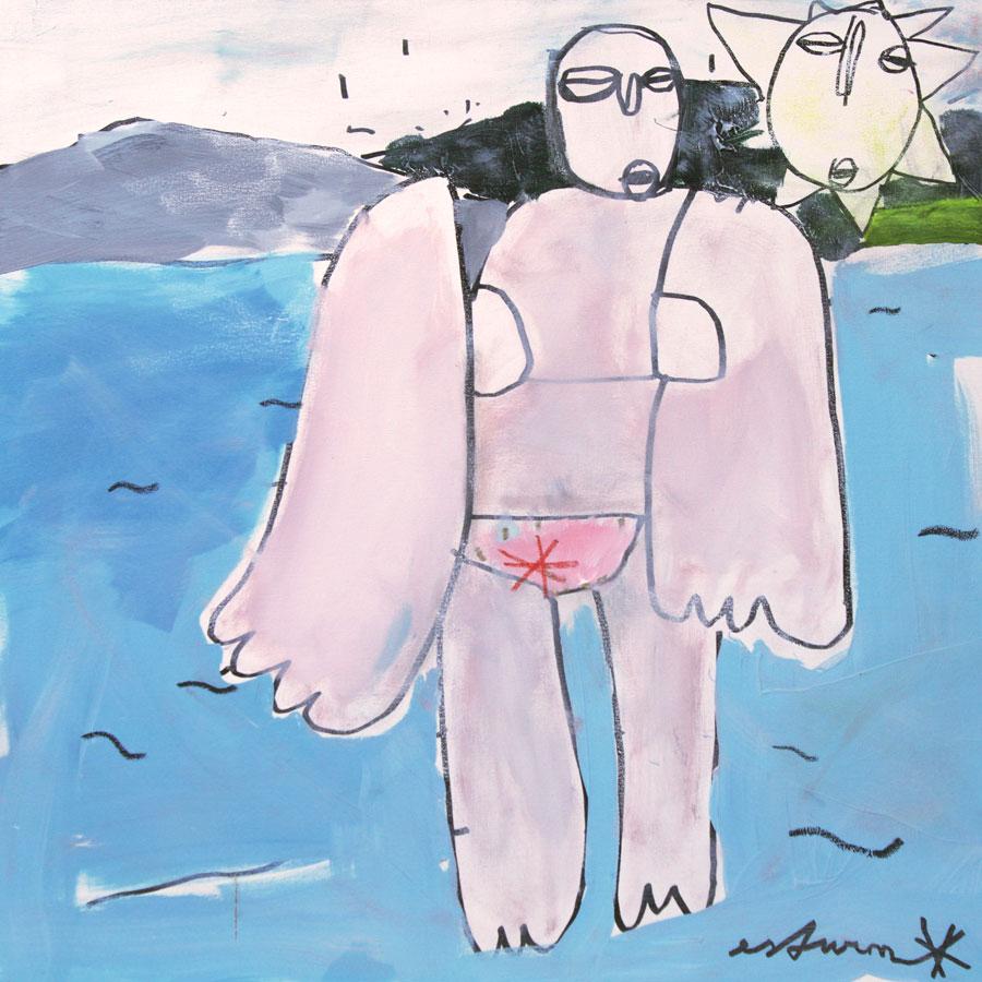 badende (2016)<br>Acryl, Marker, Ölkreiden auf Leinwand<br>80 x 80 cm