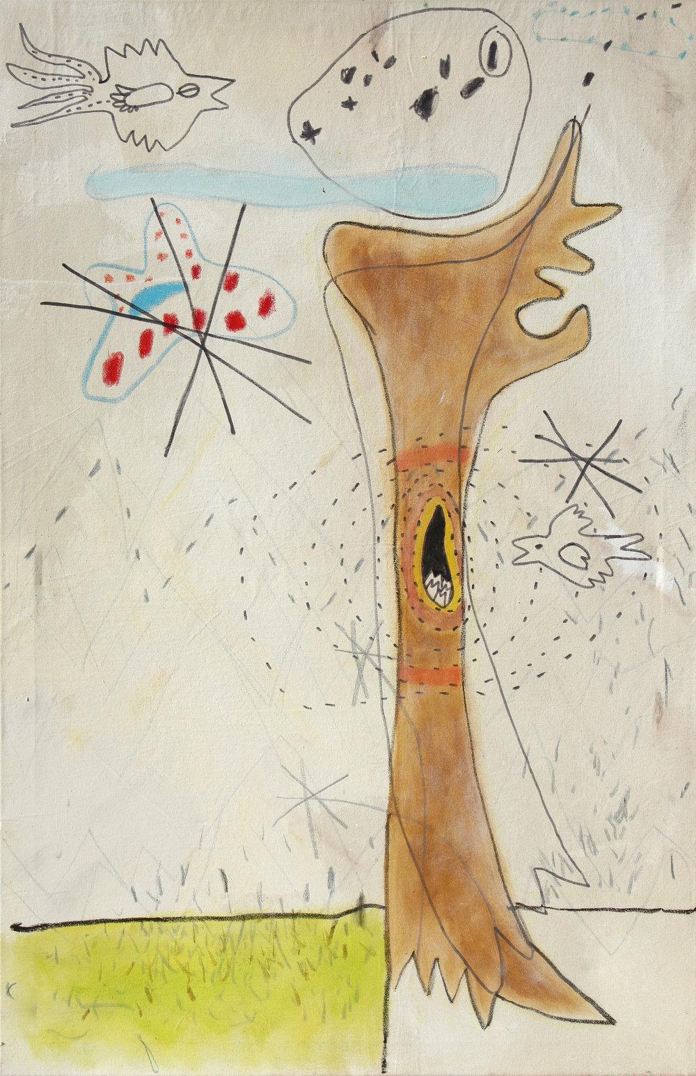leben-tod-leben (2004) Acryl, Marker, Ölkreiden auf Leinwand 80 x 125 cm