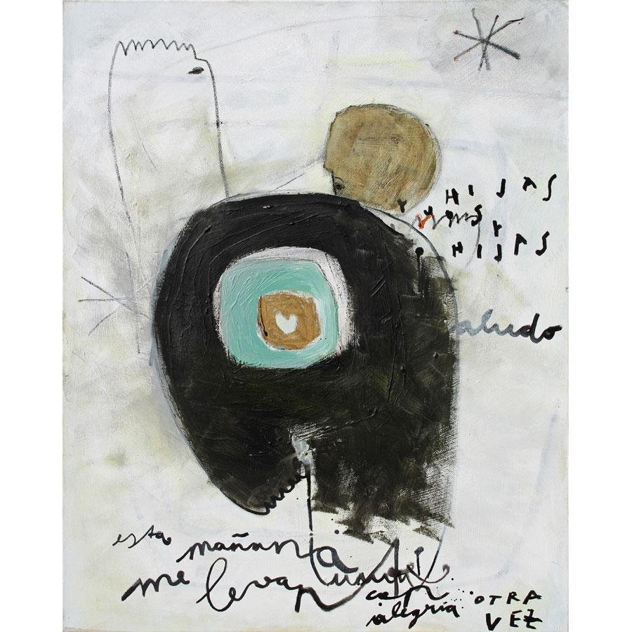 esta mañana me levanté... (2016)<br>Acryl, Marker, Ölkreiden auf Leinwand<br>80 x 100 cm