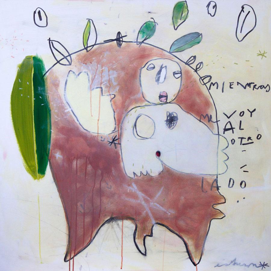 mientras me voy al otro lado (2016)<br>Acryl, Marker, Ölkreiden auf Leinwand<br>100 x 100 cm