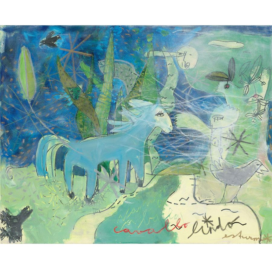 sueño azul (2016)<br>Acryl, Marker, Ölkreiden auf Leinwand<br>100 x 80 cm