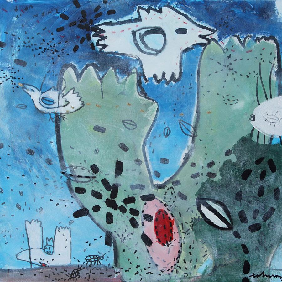 sueño del desierto (2017)<br>Acryl, Marker, Ölkreiden auf Leinwand<br>100 x 100 cm