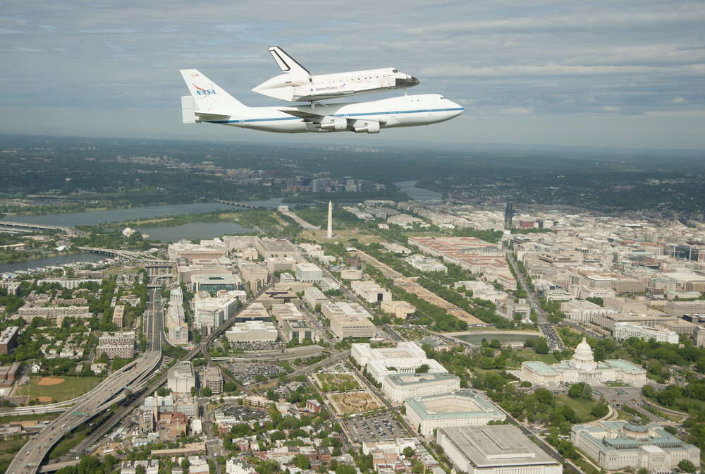 2012 picture of the Space Shuttle discovery preparing for transfer to the National Air and Space Museum