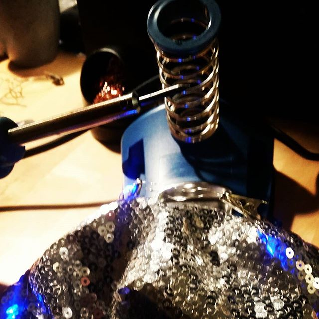 Late night soldering project: Fixing my ridiculous disco jacket. After bringing it to The Borderland and dancing like crazy, the wire had broken. But now the jacket lives again! :D #itsalive #soldering #fix #repair #disco #tech #humandiscoball #sparkle #maker #design #borderland #party #tw