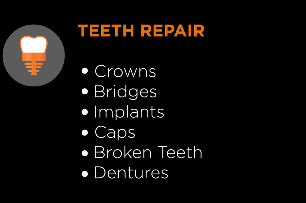 crowns bridges implants caps broken teeth dentures