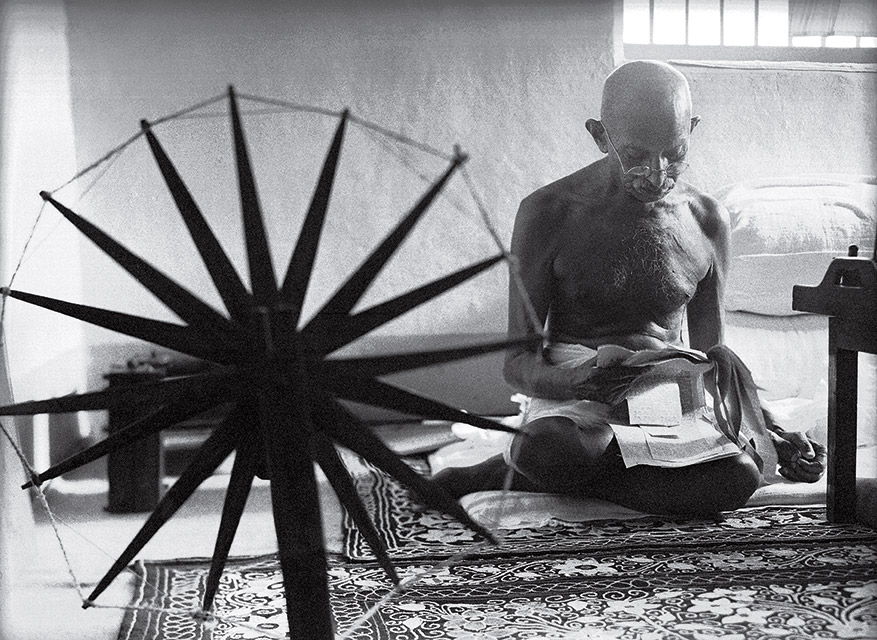 Gandhi and the Spinning Wheel , 1948