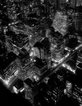 Nightview , New York City (1932), gelatin silver print (Berenice Abbott Archive, Ryerson Image Centre © Ronald Kurtz, administered by Commerce Graphics Ltd. Inc.)