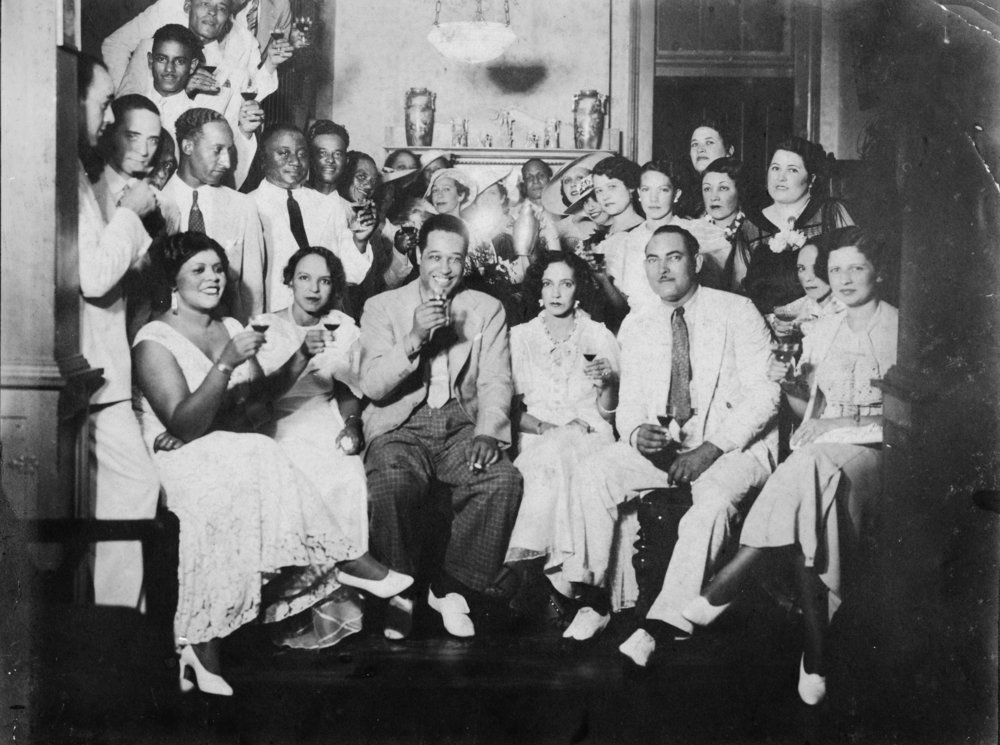 Florestine and Marguerite Perez with Duke Ellington and friends, mid-1930s.