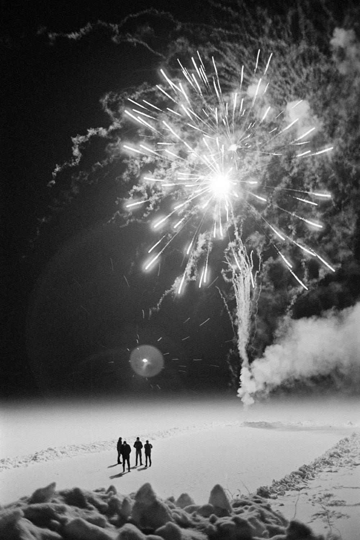Christmas fireworks on the Kolodozero lake